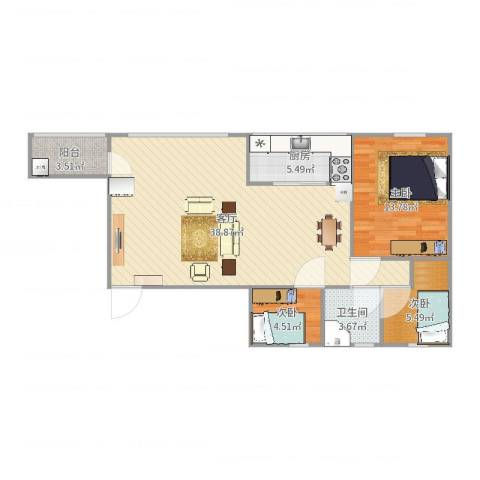 番禺富华楼3室1厅1卫1厨94.00㎡户型图