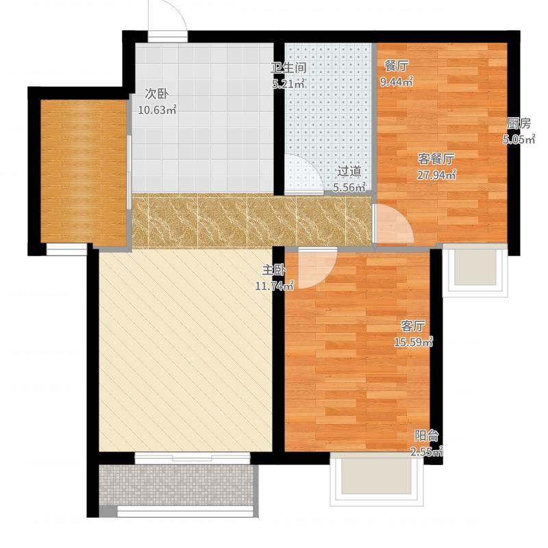 大连海湾城88.24㎡户型2室2厅1卫-副本户型图