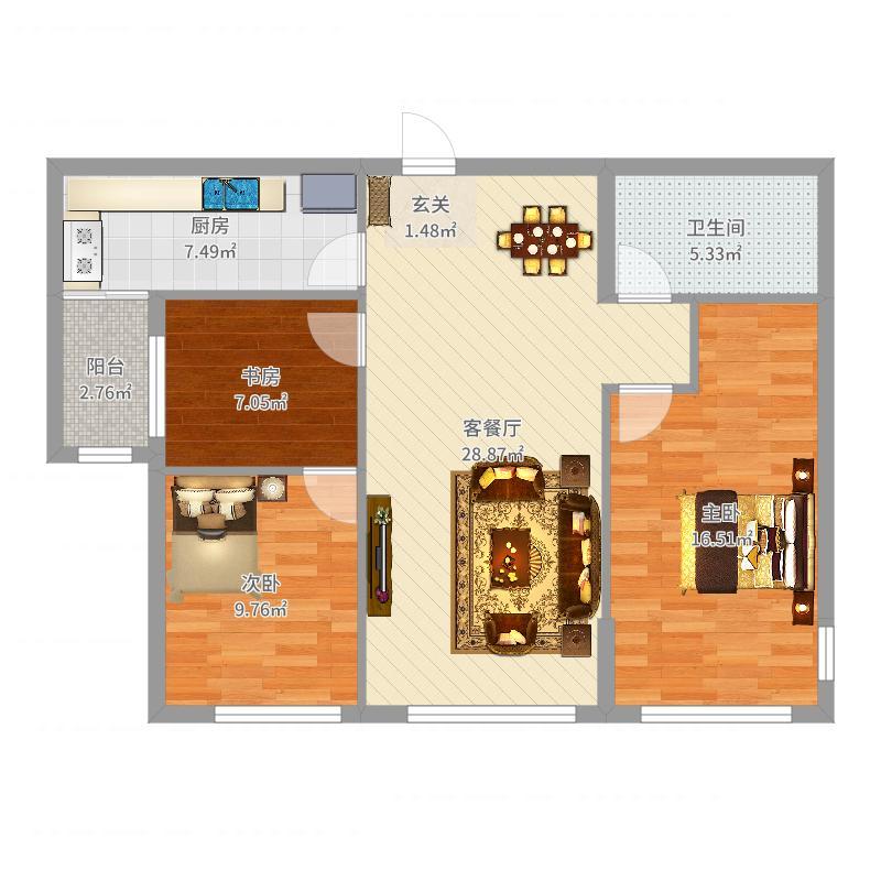 海韵华府118.00㎡户型3室3厅1卫1厨户型图