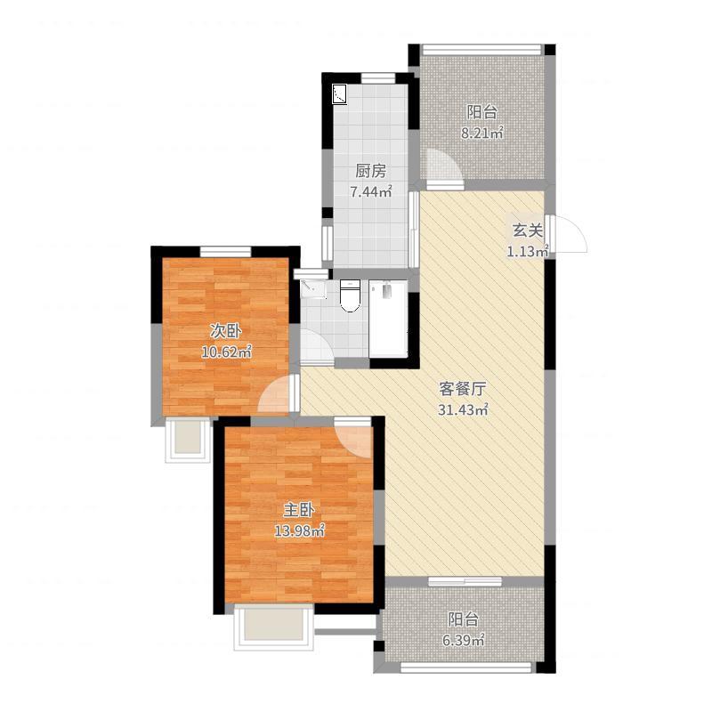 梧桐香郡102.69㎡7#标准层醇香月季户型2室2厅1卫1厨-副本户型图