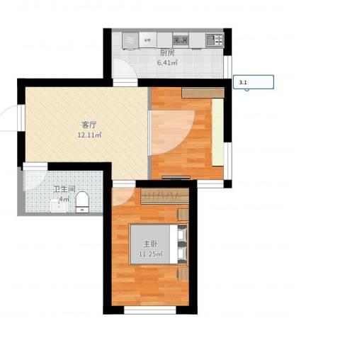 上东城市之光1室1厅1卫1厨52.00㎡户型图