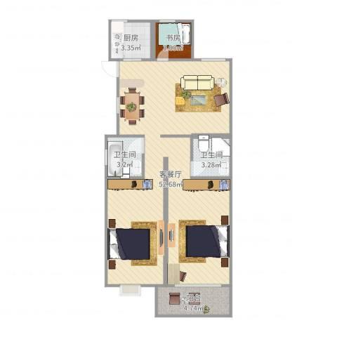 春江花城1室2厅2卫1厨88.00㎡户型图