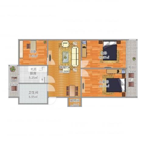 小木桥小区3室2厅1卫1厨96.00㎡户型图