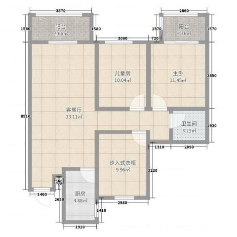 华润凯旋门2室2厅1卫1厨101.00㎡户型图
