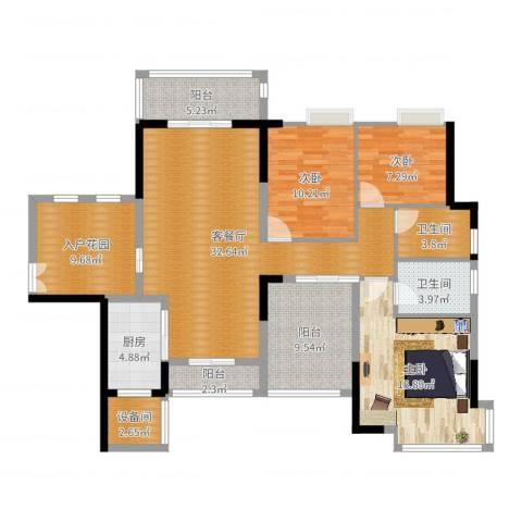 三水奥林匹克花园3室3厅3卫1厨135.00㎡户型图