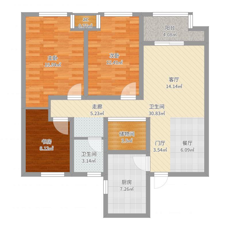 紫金城107.69㎡郁金香组团3#户型3室2厅-副本-副本户型图