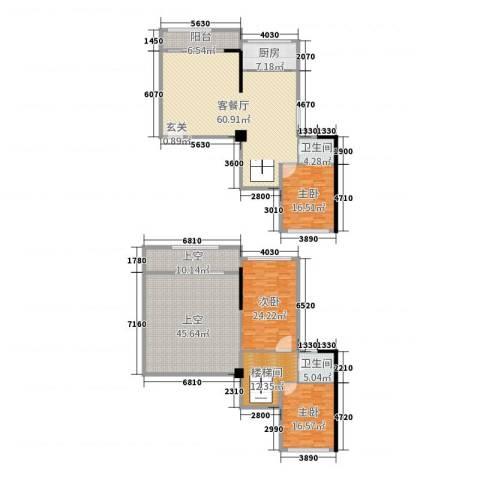 万星文化广场3室2厅2卫1厨209.39㎡户型图