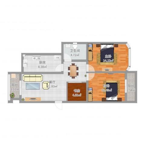 欧典家园3室1厅1卫1厨91.00㎡户型图