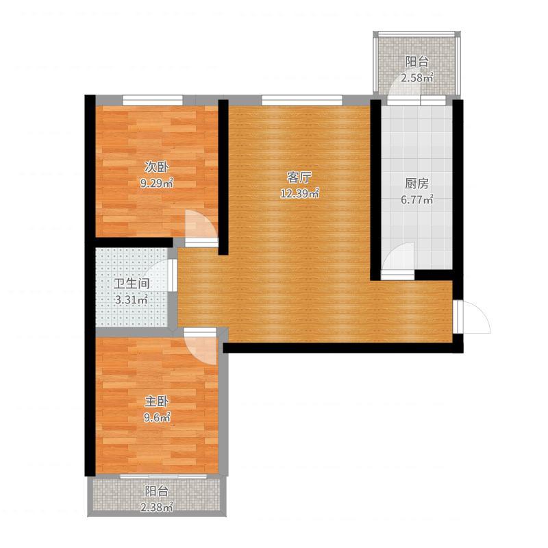 国隆府B户型两室两厅两卫户型2室2厅2卫户型图
