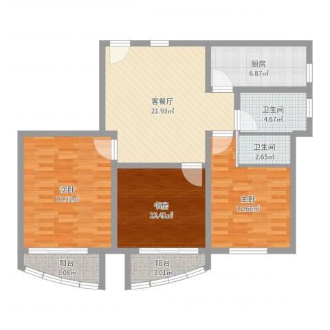 新领地3室2厅2卫1厨106.00㎡户型图
