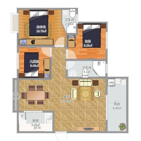 公明合水口农民房2室1厅2卫1厨89.00㎡户型图