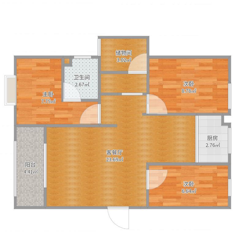 天鹅湖4—2—401方案二户型图