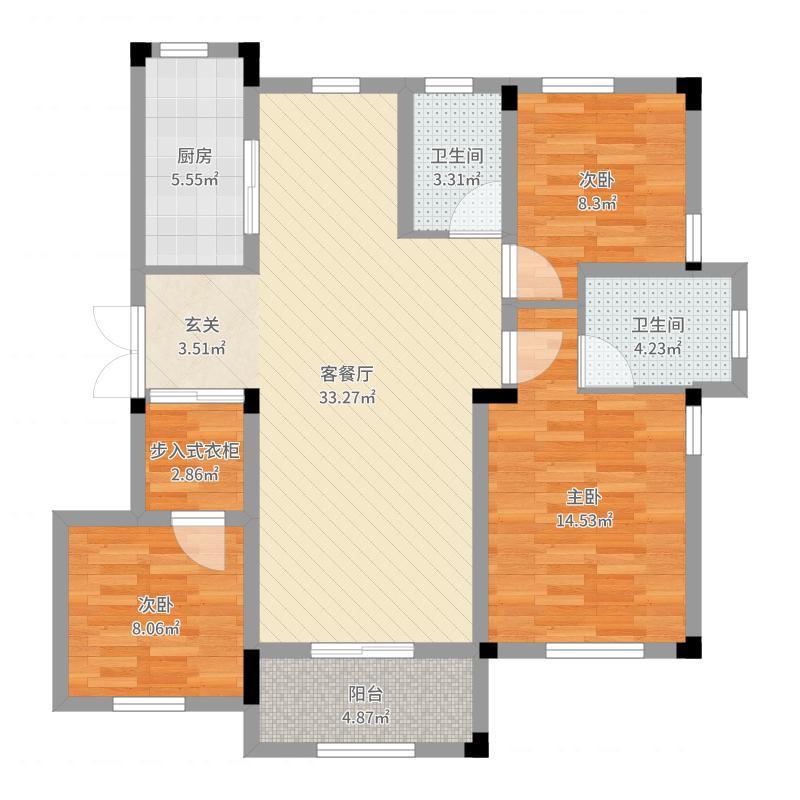 绿城玉兰花园122.00㎡10、11号楼C1户型3室2厅2卫1厨-副本户型图