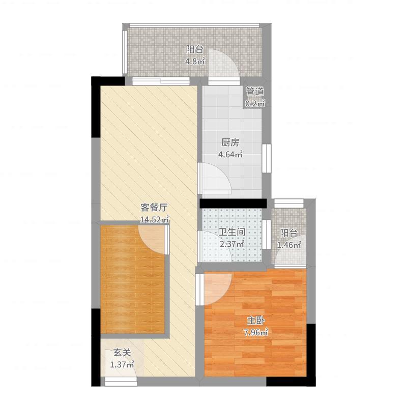 强发百年国际45.45㎡一期2号楼标准层A1户型1室2厅1卫1厨-副本户型图