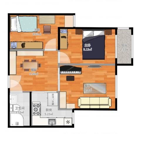 左安浦园2室2厅1卫1厨77.00㎡户型图