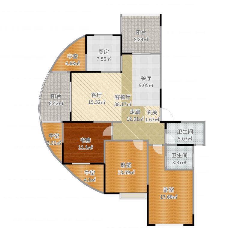云峰城136.00㎡高层23#A2户型3室2厅2卫户型图