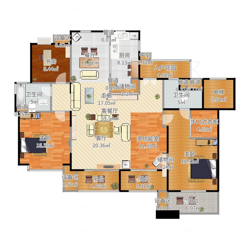 招商雍华府166.00㎡3房2厅2卫,面积约166平方米户型户型图