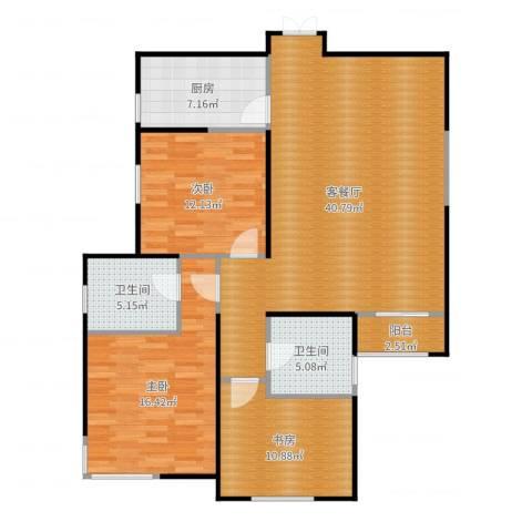 白桦林间3室2厅2卫1厨125.00㎡户型图