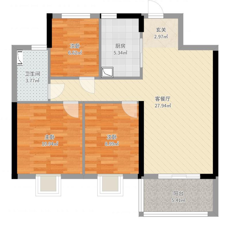 中海玄武公馆94.00㎡一期10#标准层G1户型3室3厅1卫1厨户型图