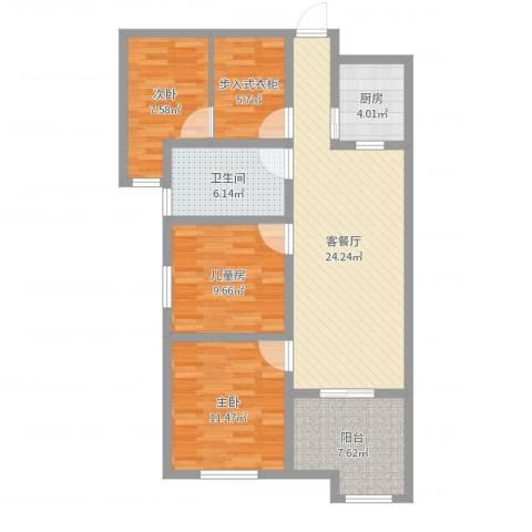 世纪一品3室2厅1卫1厨96.00㎡户型图