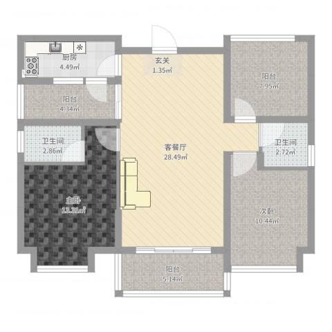 盈富馨园2室2厅2卫1厨100.00㎡户型图