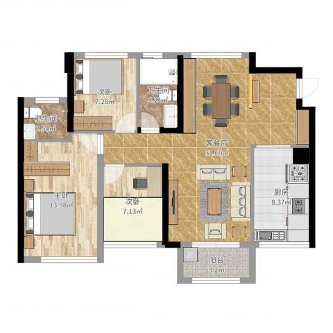 宏发世纪城二期3室2厅2卫1厨98.00㎡户型图
