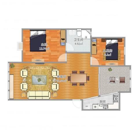 燕山美林2室2厅1卫1厨87.00㎡户型图
