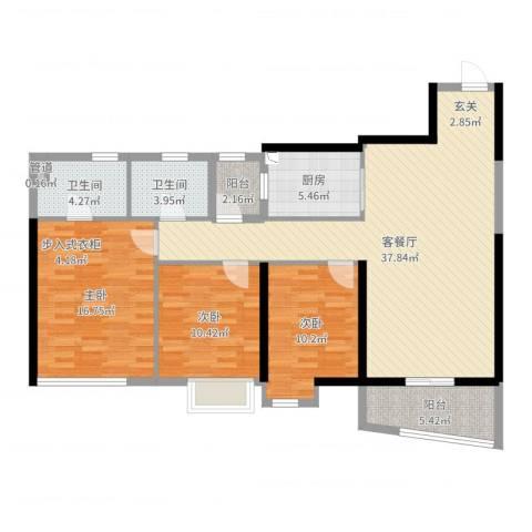 万科水晶城3室2厅2卫1厨121.00㎡户型图