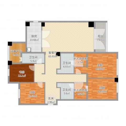 蠡湖香樟园4室2厅3卫1厨220.00㎡户型图