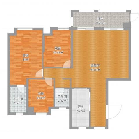 中冶枫树湾3室2厅2卫1厨132.00㎡户型图