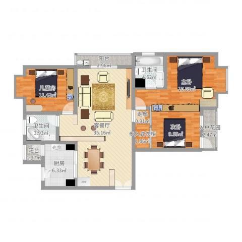 嘉丰银座3室2厅2卫1厨121.00㎡户型图