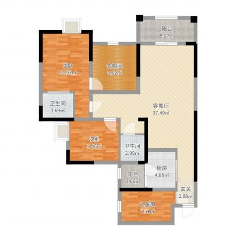 滨江翡翠城3室2厅2卫1厨124.00㎡户型图
