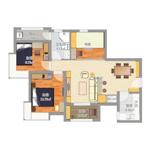 中华世纪城・马上3室2厅1卫1厨91.00㎡户型图