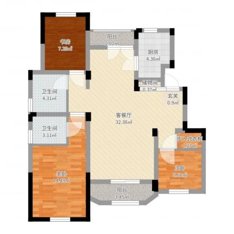 金浦御龙湾3室2厅2卫1厨98.00㎡户型图