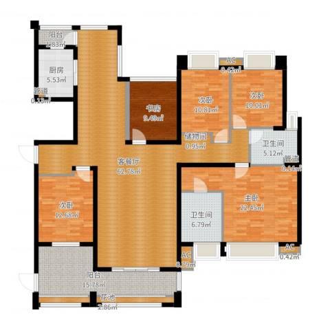 中海胥江府5室2厅2卫1厨210.00㎡户型图