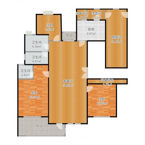 百隆东外滩花园3室2厅3卫1厨215.00㎡户型图