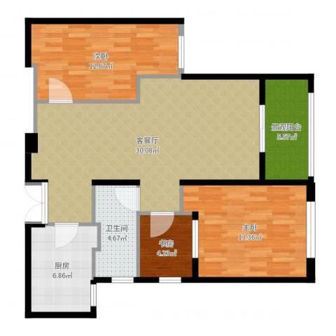 新地中心3室2厅1卫1厨97.00㎡户型图