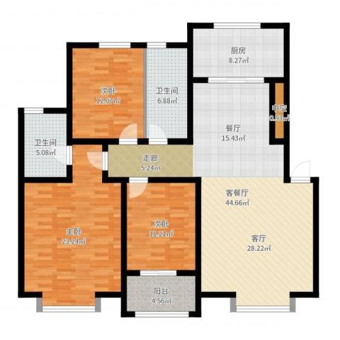 秀兰城市美居3室2厅2卫1厨146.00㎡户型图