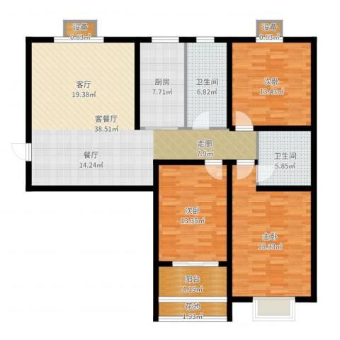 宝林大东关颐景园3室2厅2卫1厨139.00㎡户型图