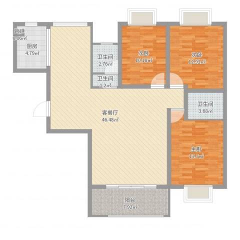 海滨壹号3室2厅3卫1厨130.00㎡户型图