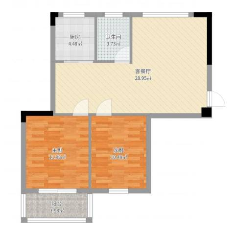 昌润・嘉和苑2室2厅1卫1厨80.00㎡户型图