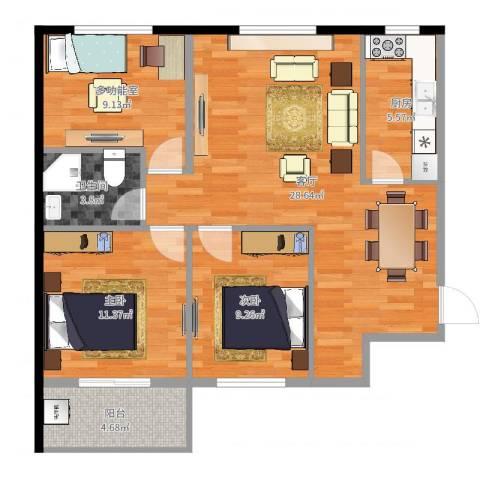 太铁北河湾2室1厅1卫1厨91.00㎡户型图