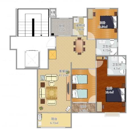金鼎公寓2室2厅2卫1厨141.00㎡户型图