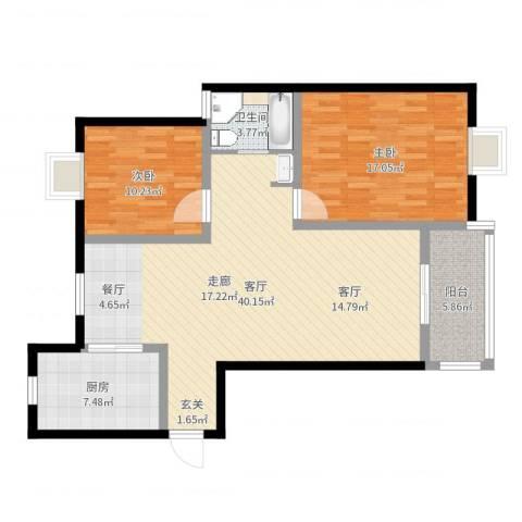 汇丰沁苑2室1厅1卫1厨106.00㎡户型图