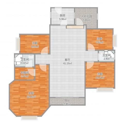 廊桥名轩4室1厅2卫1厨143.00㎡户型图
