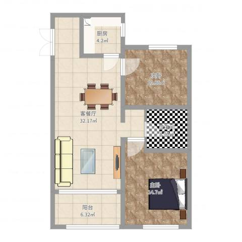 秀兰森活里2室2厅1卫1厨91.00㎡户型图