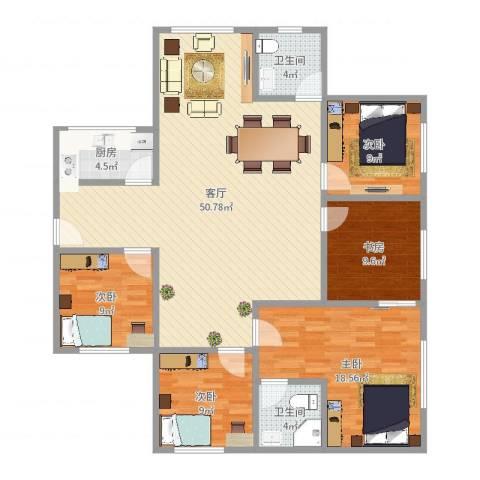 绿缘公寓5室1厅2卫1厨148.00㎡户型图