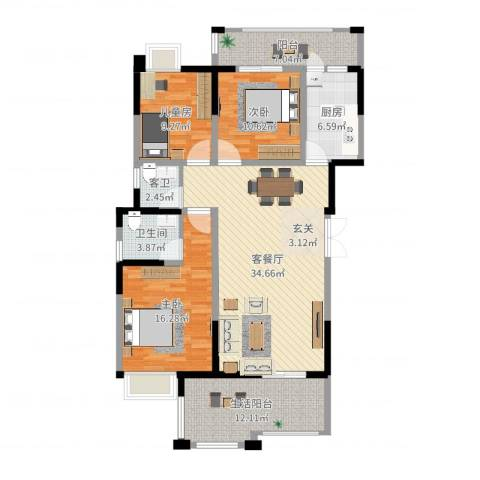 香槟庄园3室2厅1卫1厨129.00㎡户型图