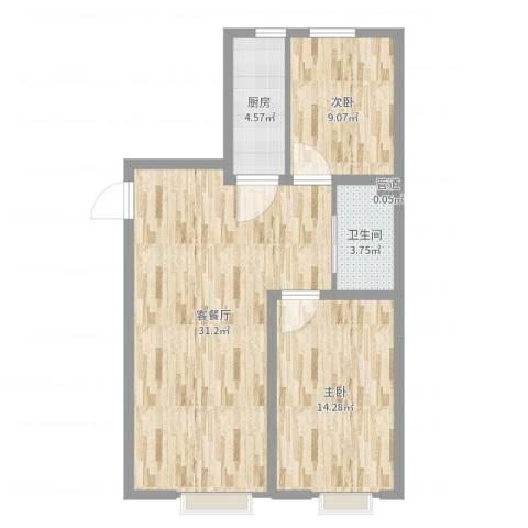 大商・中心城2室2厅1卫1厨79.00㎡户型图