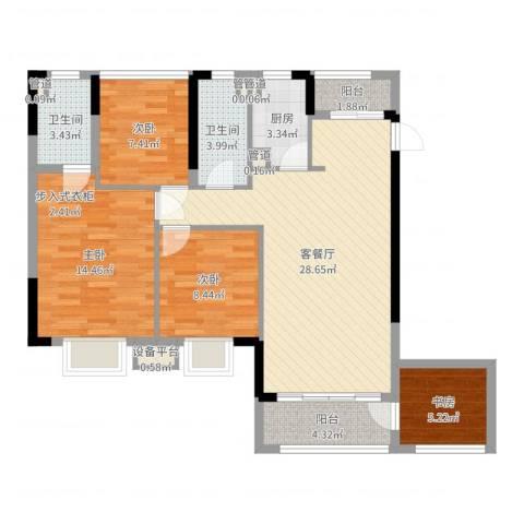 怡丰君逸名轩4室2厅2卫1厨103.00㎡户型图